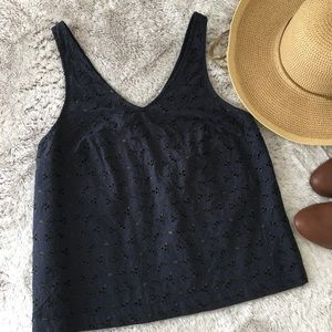A New Day Navy Eyelet Sleeveless Top XS